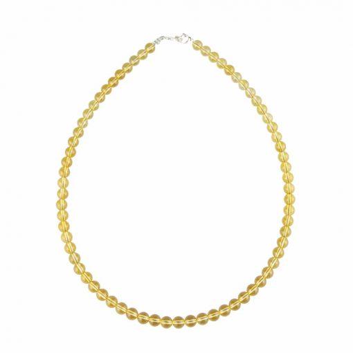 collier en citrine naturelle avec perles de 6 mm