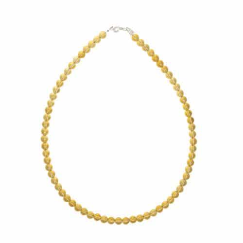 collier en citrine véritable avec perles de 6 mm