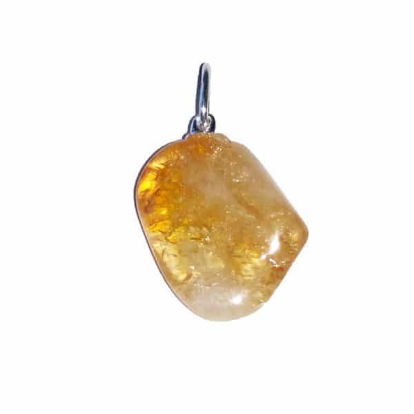 pendentif pierre roulée en citrine naturelle
