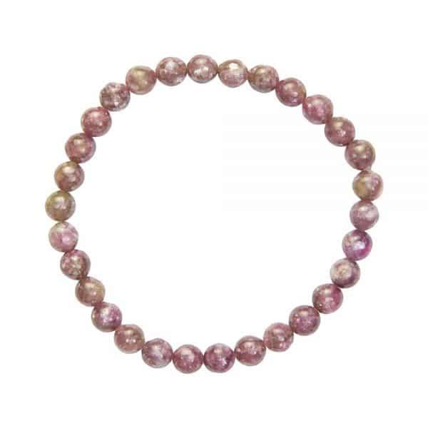 bracelet lithothérapie en tourmaline rose véritable boules 6 mm