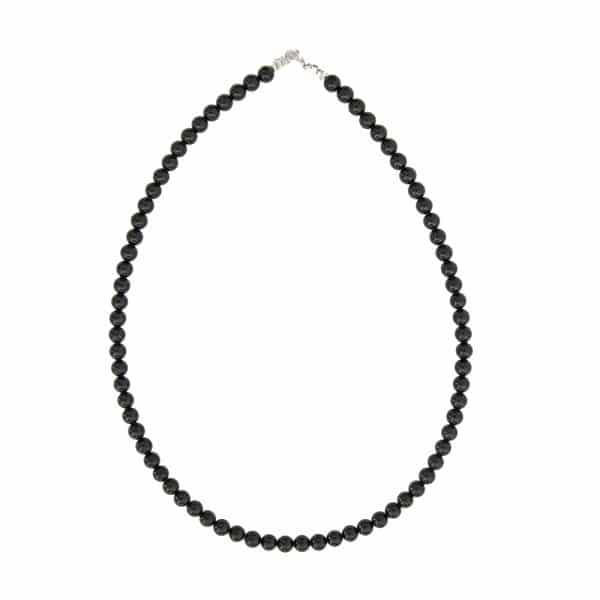collier de lithothérapie en tourmaline noire véritable boules 6 mm