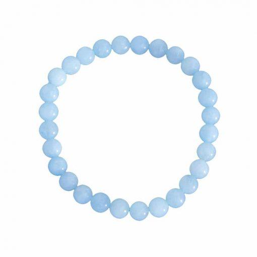 bracelet en aigue marine naturelle boules 6 mm