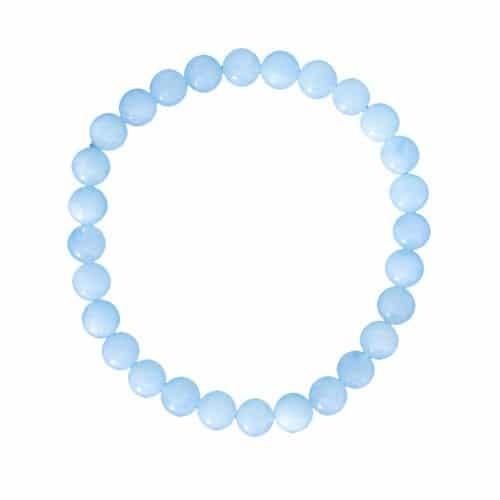 bracelet de lithothérapie en aigue marine véritable boules 6 mm