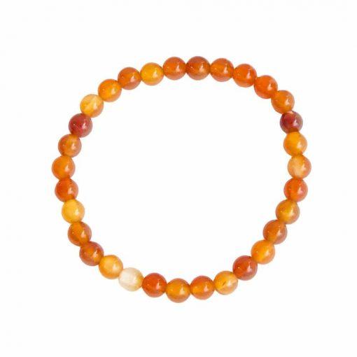 bracelet en cornaline naturelle boules 6 mm