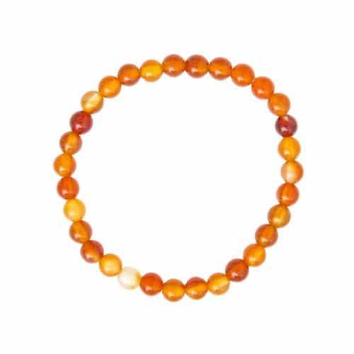 bracelet de lithothérapie en cornaline véritable boules 6 mm