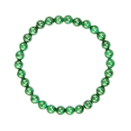 bracelet de lithothérapie en malachite véritable boules 6 mm