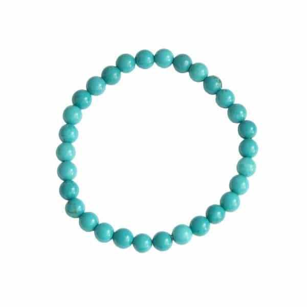 bracelet en turquoise stabilisée naturelle boules 6 mm