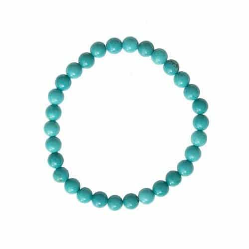 bracelet de lithothérapie en turquoise stabilisée véritable boules 6 mm