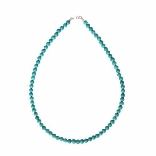 collier de lithothérapie en turquoise stabilisée véritable boules 6 mm