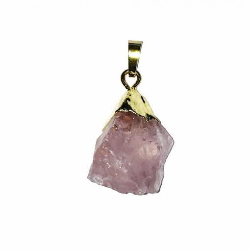 pendentif en quartz rose naturelle brute