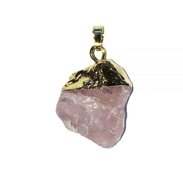 pendentif de lithothérapie en quartz rose véritable