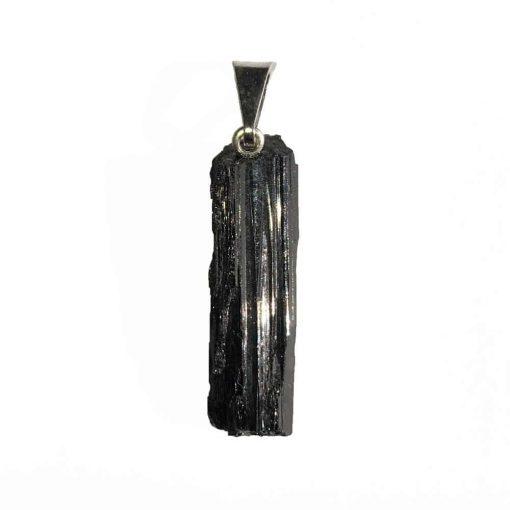 pendentif de lithothérapie en tourmaline noire, pierre brute naturelle